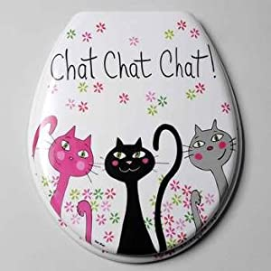 foxtrot 12003cha abattant wc motif chat chat chat plastique thermodur 4 6 x 39 x 4 5 cm amazon. Black Bedroom Furniture Sets. Home Design Ideas