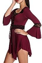 Wakrays Women Embroidery Slim High Low 3/4 Sleeve Long Dresses Boho Breezy Top