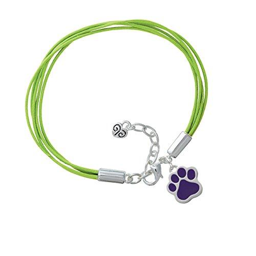 Large Purple Paw Lime Green Leather Aruba Bracelet