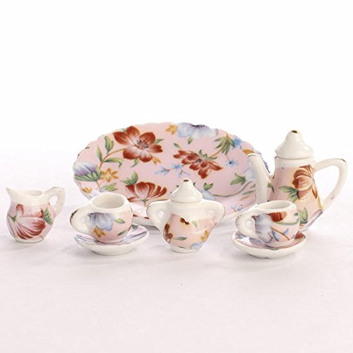Miniature Elegant Pink Floral Painted Ceramic Tea Set - 1