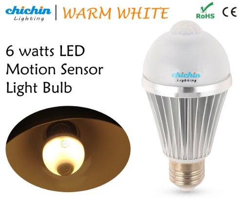Chichinlighting® 6 Watts Warm White Motion Sensor Led Light Pir Led Bulb Led Motion Light E26/E27 Base Built-In