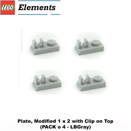 Lego Parts: Plate, Modified 1 x 2 with Clip on Top (PACK of 4 - LBGray) - 1
