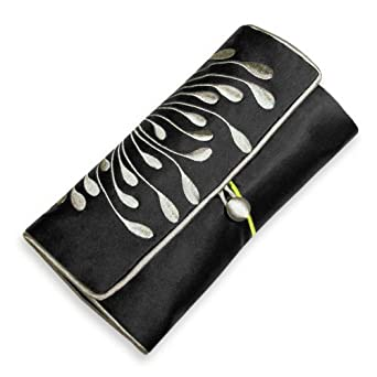 Embroidered Hyacinth Jewelry Roll, Large (Black)