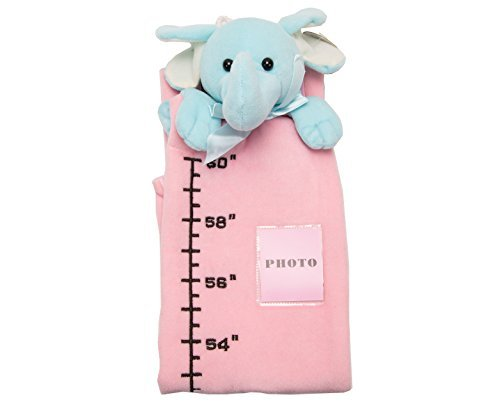 U-b Cuddly Height Measuring Baby Plush Ruler Toy / Blue Elephant, Pink Charter
