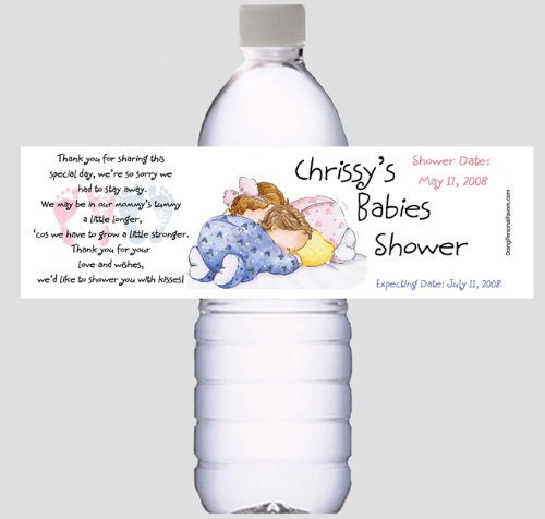 Twins Baby Shower Water Bottle Labels for Favors or decorations - Personalized