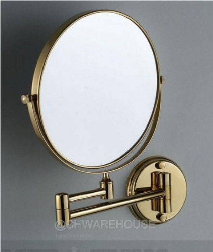 """Gold 8"""" Magnifying Mirror For Bath, Wall Mounted, Swing Arm, 1 & 7X, 2-Sided front-663907"""