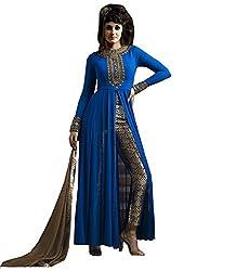 London Beauty Women's Faux Georgette Salwar Suit Dress Material (227_Blue,Black)