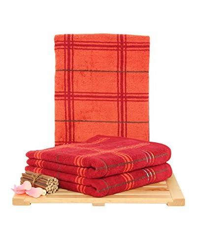 Maisonette Gordon 3-Piece Hand Towel Set, Bordeaux
