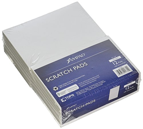 Ampad Scratch Pad Notebook, Unruled, 4x6 Inches, White, 100 Sheets per Pad - 12 Pads per Pack (21-731)