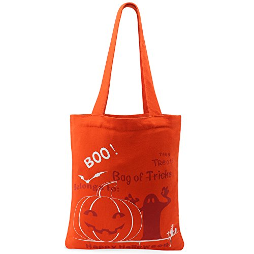 2016 Halloween Candy Bag for Kids Halloween Candy Basket for Halloween Party Trick or Treat Pumpkin Tote Bag Made By Canvas-Orange With (Halloween Candy Baskets)
