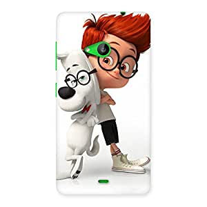Ajay Enterprises Fit Cute Boy and Dog Back Case Cover for Lumia 535