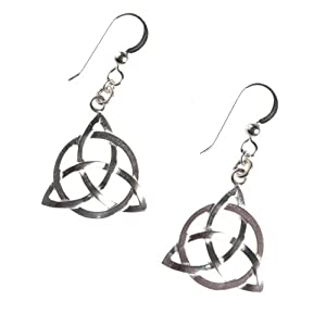 Delicate Triquetra Trinity Knot Silver Dipped Earrings on French Hooks