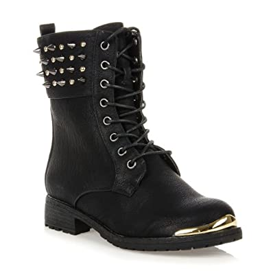 Timberly 62 Womens Military Lace up Studded Spike Combat Boots Black 10