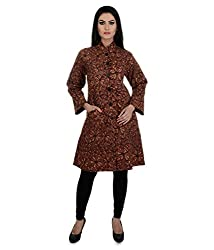 Aarohee Women's Block Printed Cotton Quilted Jacket (AAC38_Maroon_X Small)