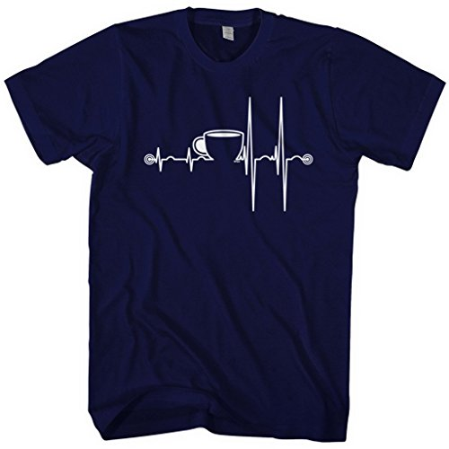 Mixtbrand Men's Coffee Cup Heartbeat T-shirt M Navy (Coffee Cup Shirt compare prices)