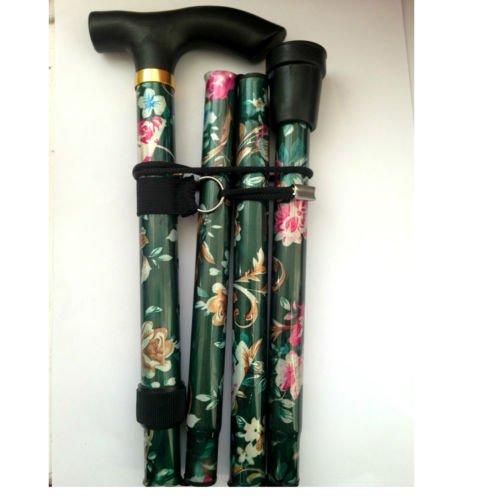 adjustable-folding-floral-walking-stick-pole-green-colour