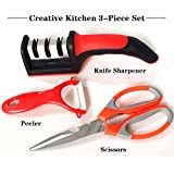 Kitchen Knife Accessories, 3-Stage Diamond Coated Knife Sharpener, Vegetable Ceramics Peeler, Multi-function Stainless Steel Scissors