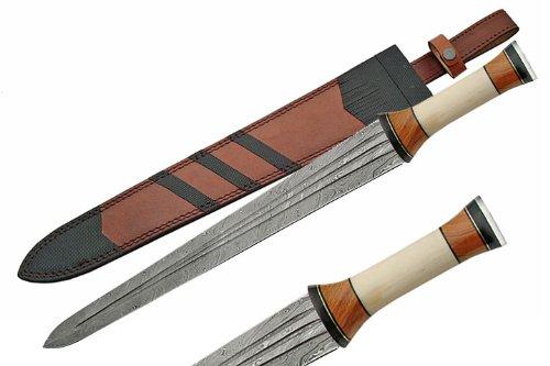 Szco Supplies Damascus Sword With Bone Handle