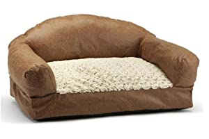 Brinkmann Pet Home Decor Distressed Faux Leather Pet Sofa Bed, 29-Inch-by-19-Inch