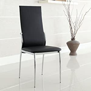 Amazon.com - Aldora Contemporary Black Finish Dining Chairs (Set