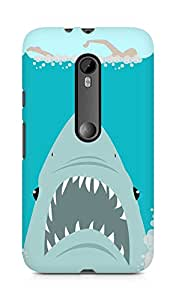 Amez designer printed 3d premium high quality back case cover for Moto G Turbo Edition (Sharkweek)