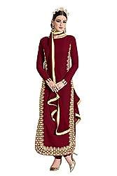 Stopnshop Fresh Designer Maroon Color Embroidered party Wear Salwar Suit