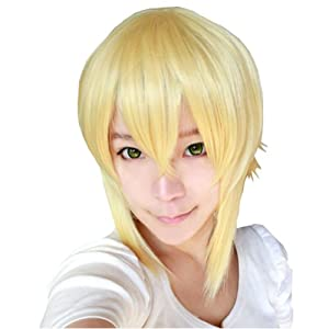 F&C Blazblue Anime Jin Kisaragi Gold Short Hair Cosplay Wig