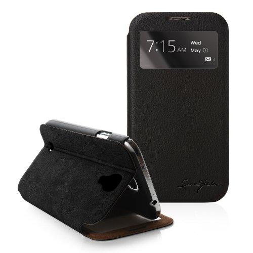[Black] Tridea [Samsung Galaxy S4 Iv S Iv I9500] 100% Italian Standing View Cover S View Folio Premium Case For S4 I9500