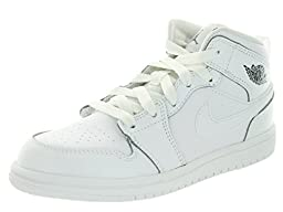 Nike Jordan Kids Jordan 1 Mid BP White/Cool Grey/White Basketball Shoe 13 Kids US