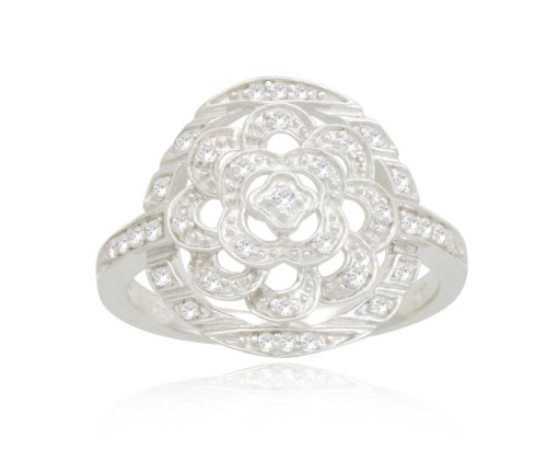 Sterling Silver Flower Diamond Ring (1/5 cttw, I-J Color, I2-I3 Clarity), Size 6