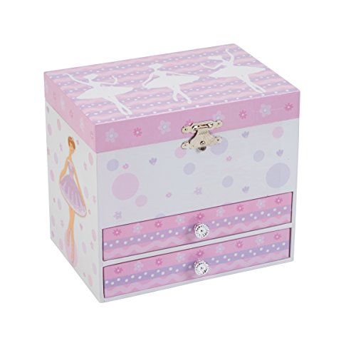 JewelKeeper White and Purple Ballerina Musical Jewelry Box with 2 Pullout Drawers, Swan Lake Tune