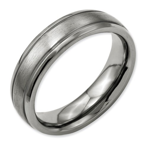 Titanium Grooved Edge 6mm Brushed and Polished Band Size 15.5