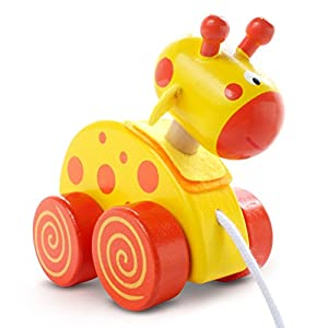 Yellow Giraffe Wooden Pull Along Toy From Snuggle Collection
