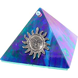 4-inch Art Glass Pyramid Box Sun Blue Iridescent (each)