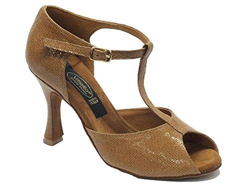 Scarpe da ballo donna latino in satinato colore cuoio con tacco 90N (Taglia 38)