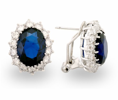 JanKuo Royal Family Kate Middleton Inspired French Clip Earrings with Blue Sapphire Silver Tone C.Z. Includes Gift Box