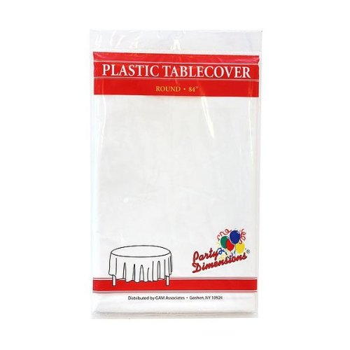 "Plastic Round TableCovers 84"" - 15 Colors Color: White by Party Dimensions"