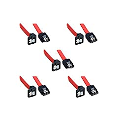 (5 Pack Sata 3 Data Cable) (40cm) Storite SATA III (SATA 3) cable Red with Locking Latch straight to Right Angle 90 Degree | compatible up to S-ATA/600 | Serial ATA | 1,5GBs/3GBs/6GBs (backward compatible) | S-ATA Cable l Compatible with Sata I and Sata II