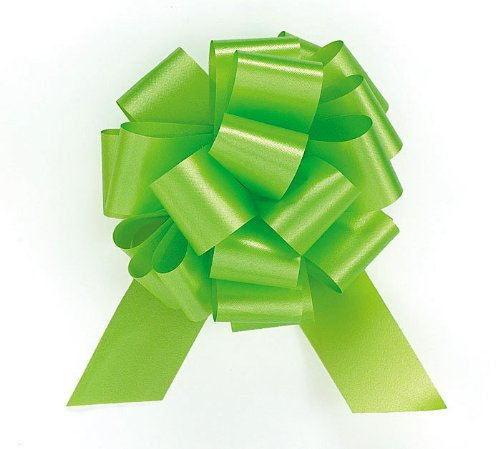 "Lime Green Citrus Pull String Bows - 5.5"" Wide 20 Loops (1 & 7/8"" Ribbon) Set Of 10 front-975595"