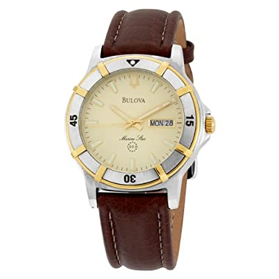 Bulova Men's 98C71 Marine Star Two-Tone Stainless Steel Watch with Brown Leather Band