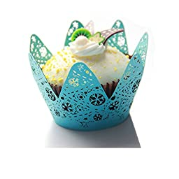 24pcs Filigree Lace Cupcake Wrapper Liners Wedding Birthday Party Cake Wrapps (Blue)