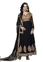 AVP Mart Women's Net Unstitched Dress Material (SM_407_Black)