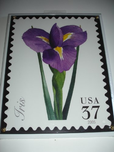 "2005 Licensed U.S. Postage Stamp Art - Crystal Art Satinwood IRIS 8"" X 10"" Plaque - Watercolor Artist Christopher Pullman"