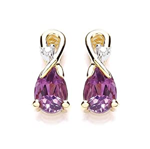 Chic 9ct Yellow Gold Amethyst and Diamond Fancy Stud Earrings 1603E-2