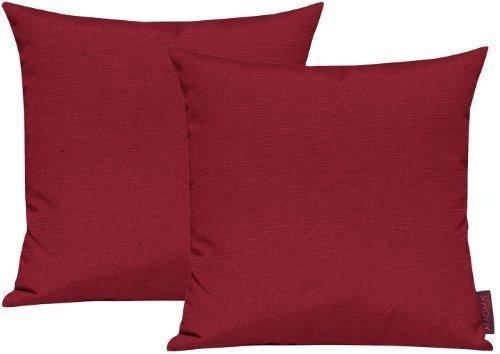 Fino-Kissenhlle-ca-50-x-50-cm-hochwertig-knitterarm-Farbe-50-Rot-2er-Set