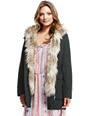 Indigo Collection Pure Cotton Faux Fur Trim Parka