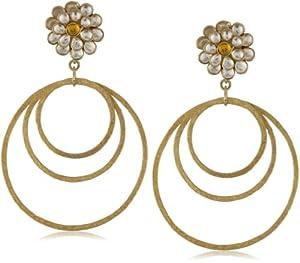 "Zariin ""The Sunshine"" Citrine and Crystal Flower Hoop Earrings"