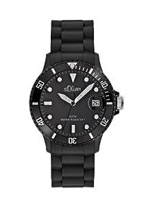 s.Oliver Unisex-Armbanduhr Medium Size Silikon schwarz Analog Quarz SO-1934-PQ