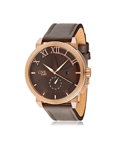 Egard Men's CVL-SHD-ROS Shade Brown Stainless Steel and Leather Watch
