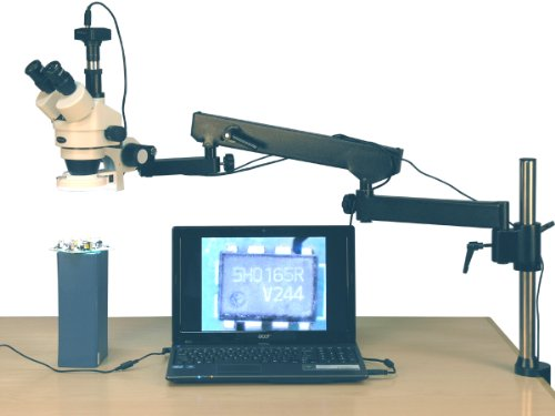 Amscope Sm-8Tz-144S-8M Digital Professional Trinocular Stereo Zoom Microscope, Wh10X Eyepieces, 3.5X-90X Magnification, 0.7X-4.5X Zoom Objective, 144-Bulb Led Ring Light, Articulating-Arm Boom Stand, 110V-240V, Includes 0.5X And 2.0X Barlow Lenses And 8Mp